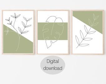 Set of 3 Printable Line Art Drawings, Botanical Line Drawing Print, Leaves, Floral print, Monstera leaf, Minimalist wall art