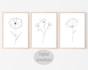 Set of 3 Printable Floral Line Art Drawings, Botanical Line Drawing Print, Flowers, Floral print, One line drawing, Minimalist wall art