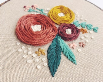 Floral embroidery hoop art, hand stitched embroidery, floral wall art, autumn, fall