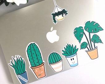6pcs Plants Sticker Pack, Monstera, Cactus, Cacti, Laptop decals, Cute stickers, MacBook Pro, Bullet journal, BuJo, Scrapbooking