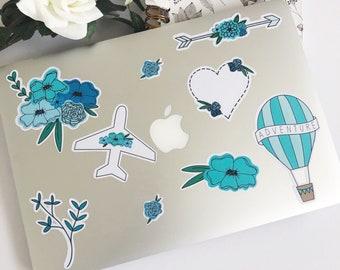 9pcs Blue Florals Sticker Pack, Travel stickers, Adventure, Laptop decals, Cute stickers, MacBook Pro, Bullet journal, BuJo, Scrapbooking