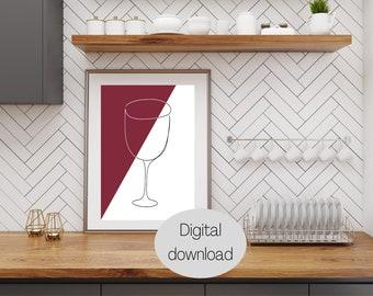 Set of 2 Printable Line Art Drawings, Wine Line Drawing Print, Kitchen decor, Wine Time, Wine glass, Red Wine, Minimalist wall art