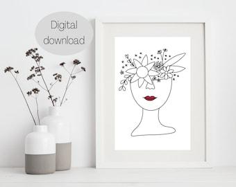 Printable Floral Head Line Art Drawing, Female Line Art Print, One Line Drawing, Leaves, Floral print, Modern, Minimalist wall art, Lipstick