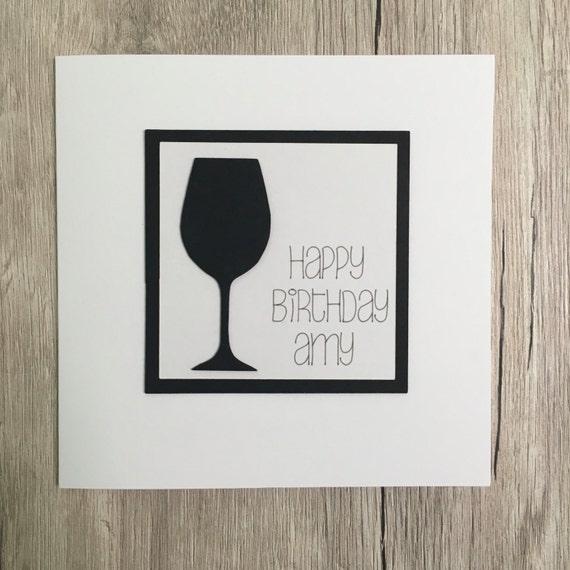 Handmade Personalised Wine Birthday Card Personalized