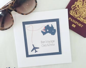 Handmade personalised Bon Voyage card // Personalized travel card // Good luck