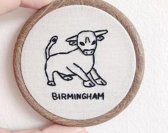 """Mini 3"""" Birmingham embroidery hoop, West Midlands Landmark, Bullring, Bham, Brummy, Brummie, Brum, UK City, Line drawing"""