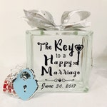 """Unique Guest Book Wish Block - Glass Block with """"The Key to a Happy Marriage"""" - Personalized for Free - Paper Locks in Coordinating Colors"""