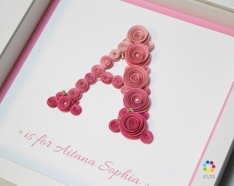 Paper Roses Nursery Decor   3D Wall Art   Letters