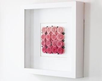 Paper Roses Nursey Decor   3D Wall Art   Pink Ombre