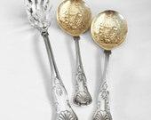 3pc KINGS Pattern - William Adams Sheffield Berry Spoons - FB Rogers Pasta Fork