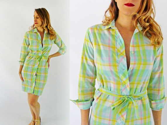 1970s Plaid Shirtdress - Size Small