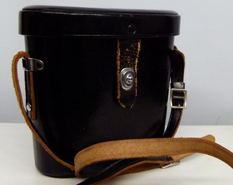 Lovely Vintage Black Leather Binocular Hard Case - With Cream Interior - Steampunk