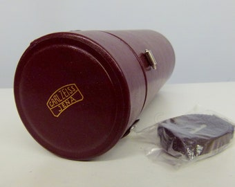 Large Carl Zeiss Jena  Red Leather Lens Case - Ideal For A Larger Lens - Unused Condition
