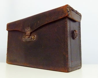 Vintage Very Rare Victorian 1900s Deep Brown Leather For Pony Premo 3b Camera Case - With Leather Carry Handle - Steampunk