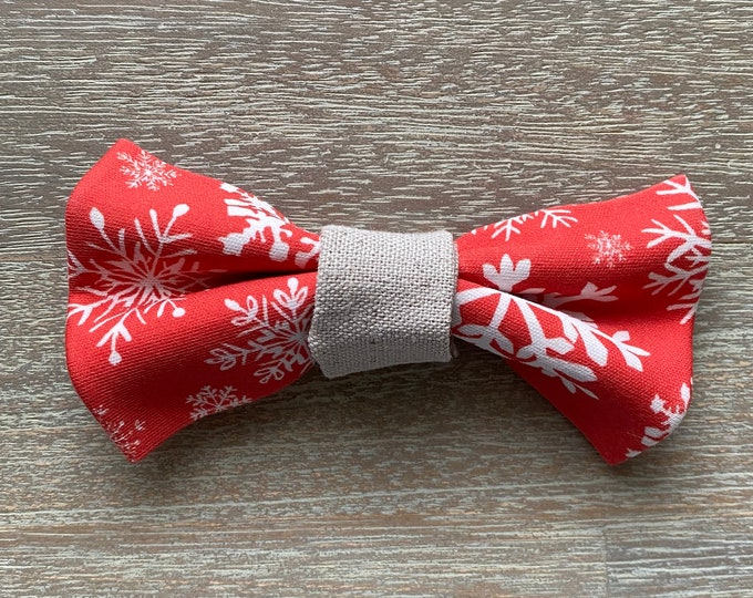 GOTS Organic Cotton Christmas Bow Tie - Red Snowflakes *LIMITED *