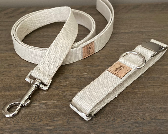 Heavy Duty Hemp Canvas Dog Collar & Lead Set - Silver