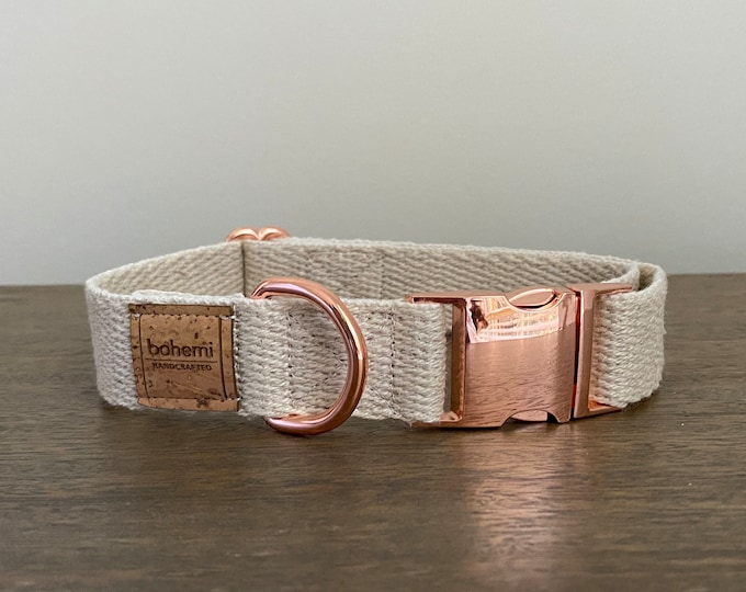 Super Soft Hemp Twill Dog Collar - Rose Gold