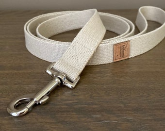 Heavy Duty Hemp Canvas Clip Lead - Silver