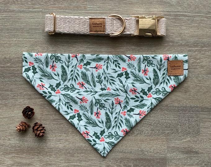 GOTS Organic Cotton Christmas Bandana & Collar Set - Mint Holly *LIMITED *