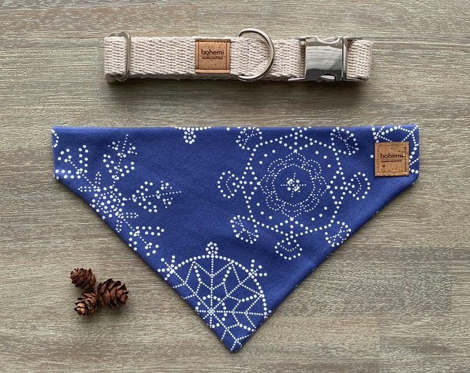 GOTS Organic Cotton Christmas Bandana & Collar Set - Royal Blue Snowflakes *LIMITED *