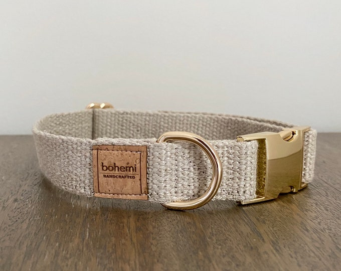 Organic European Hemp Dog Collar - Gold