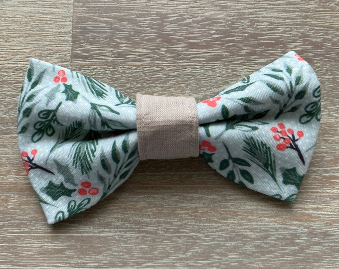 GOTS Organic Cotton Christmas Bow Tie - Holly Mint *LIMITED *