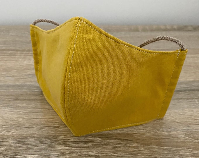 Amber GOTS Certified Organic Cotton Face Mask - Four Layers - Adjustable Ties & Shapable Nose