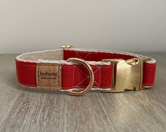 Hemp / GOTS Certified Organic Cotton Christmas Collar - Festive Red & Gold
