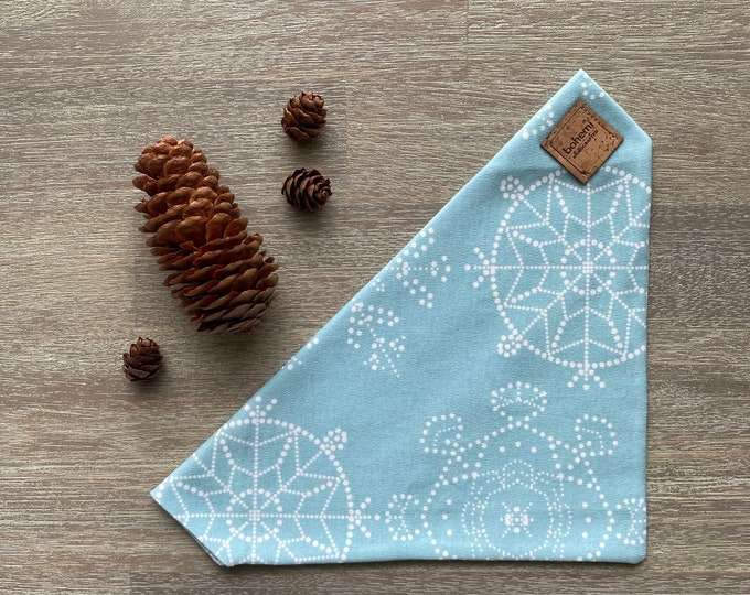 GOTS Organic Cotton Christmas Bandana - Ice Blue Snowflakes *LIMITED *