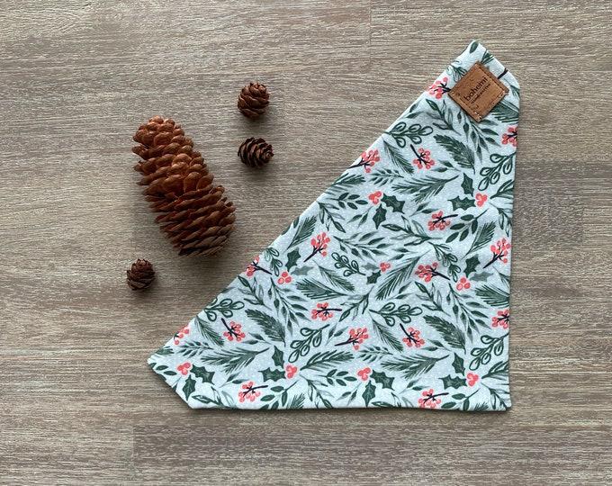 GOTS Organic Cotton Christmas Bandana - Mint Holly *LIMITED *