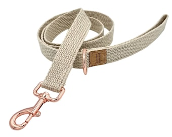 Organic Hemp Clip Lead with D Ring - Rose Gold
