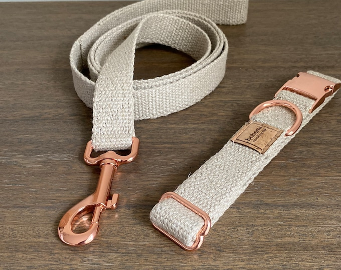 Organic European Hemp Dog Collar & Lead Set - Rose Gold