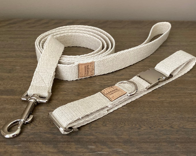 Super Soft Hemp Twill Dog Collar & Lead Set - Silver