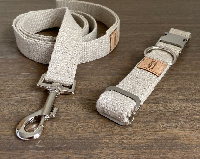 Organic European Hemp Dog Collar & Lead Set - Silver