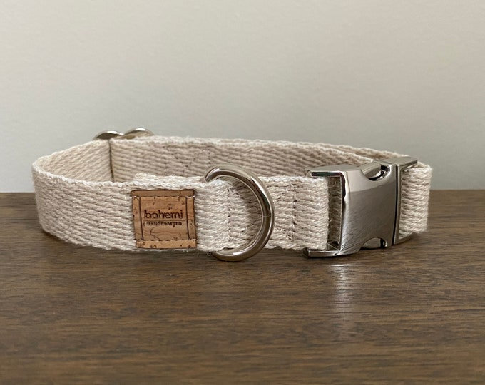 Super Soft Hemp Twill Dog Collar - Silver