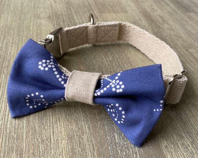 GOTS Organic Cotton Christmas Bow Tie & Collar Set - Royal Blue Snowflakes *LIMITED *