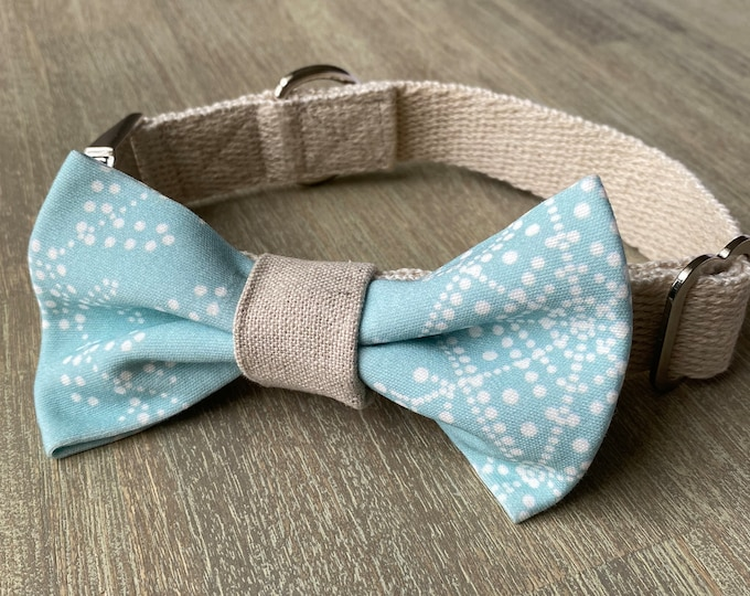 GOTS Organic Cotton Christmas Bow Tie & Collar Set - Ice Blue Snowflakes *LIMITED *