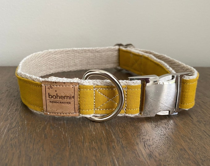 Hemp / GOTS Certified Organic Cotton Dog Collar - Mustard