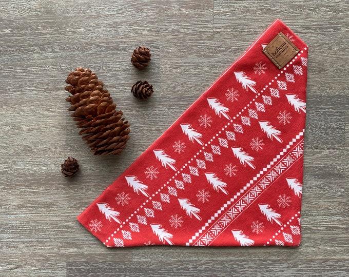 GOTS Organic Cotton Christmas Bandana - Red Scandi Christmas Trees *LIMITED *