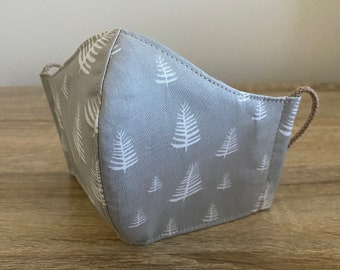 Grey Pine - Certified Organic Cotton Face Mask - Four Layer - Adjustable Ties & Shapable Nose