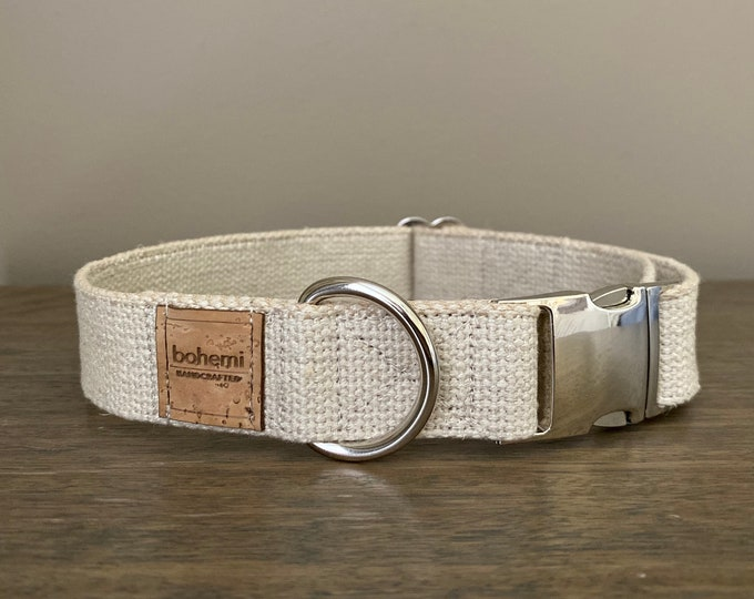 Heavy Duty Hemp Canvas Dog Collar - Silver