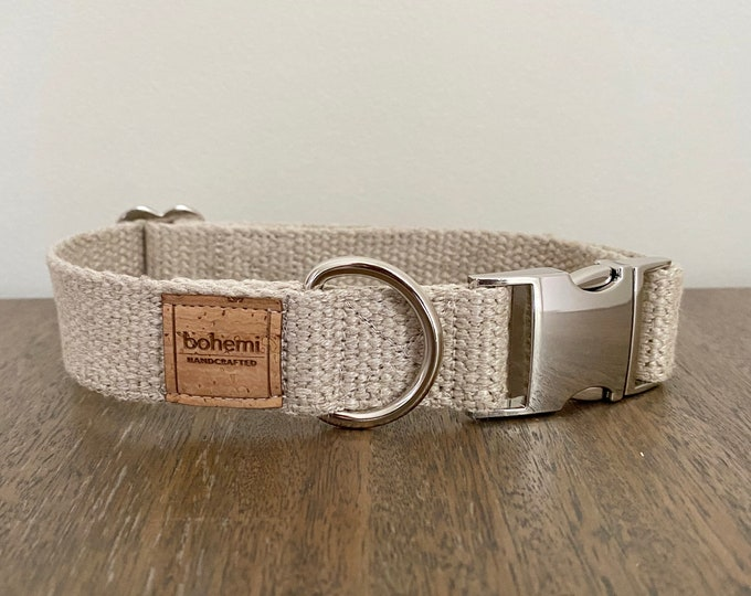 Organic European Hemp Dog Collar - Silver