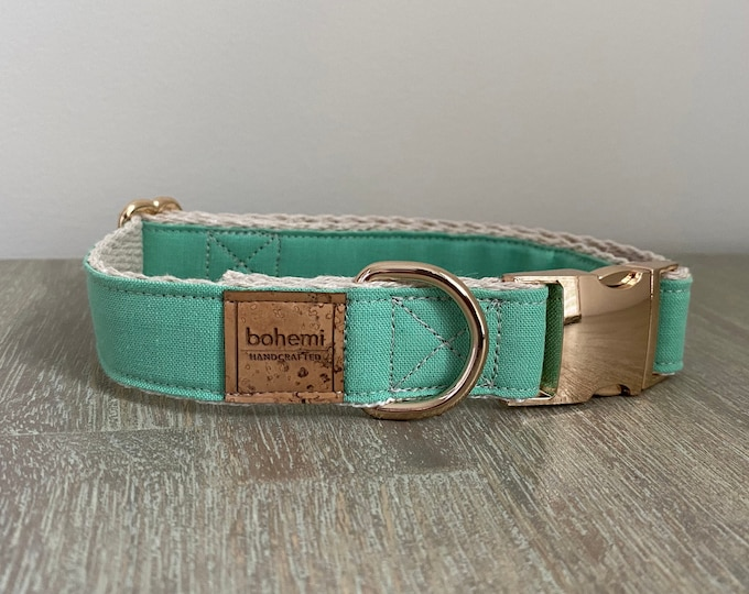 Hemp / GOTS Certified Organic Cotton Christmas Collar - Festive Mint & Gold