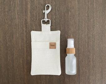 Hemp Poo Bag Mate + 15ml Glass Bamboo Bottle - Cream