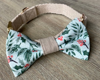 GOTS Organic Cotton Christmas Bow Tie & Collar Set - Mint Holly *LIMITED *