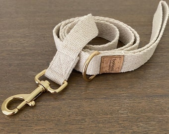 Super Soft Hemp Clip Lead with D Ring - Gold