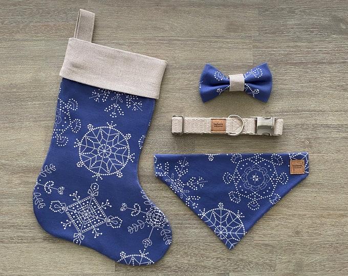 Deluxe Christmas Set - Hemp & GOTS Organic Cotton - Royal Blue Snowflakes *LIMITED *