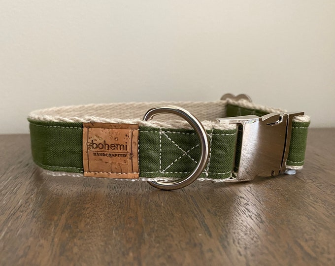 Hemp / Organic Cotton Dog Collar - Olive Green