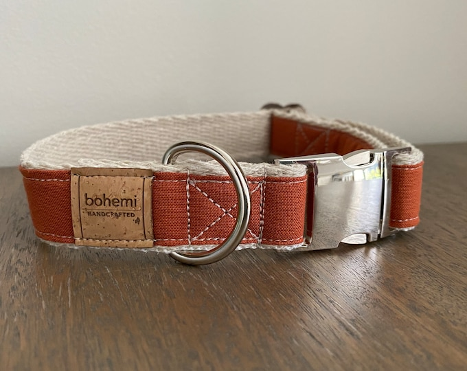 Hemp / GOTS Certified Organic Cotton Dog Collar - Burnt Orange
