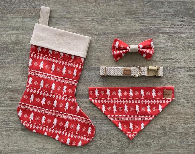 Deluxe Christmas Set - Hemp & GOTS Organic Cotton - Red Scandi Christmas Trees *LIMITED *